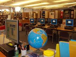 Globe and computers in the media center