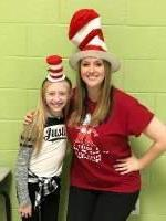 Teacher and Student with Dr. Seuss hats