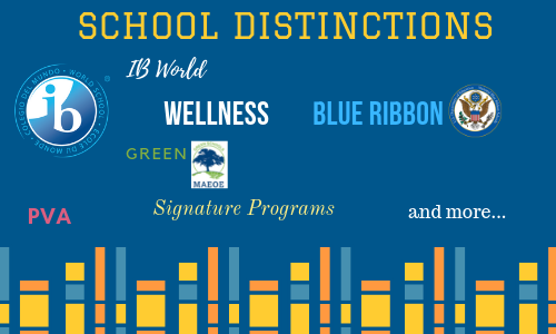 School Distinctions, including IB world, wellness, blue ribbon, green, pva, signature programs and more...