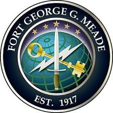 Fort George G. Meade - Est 1917 - circle logo with sword, key and lightning images in blue/black tones
