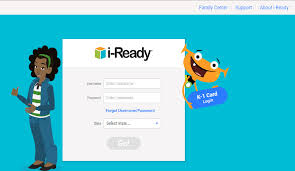 Image of a teenager and an avitar with the login screen for i-Ready in the middle.